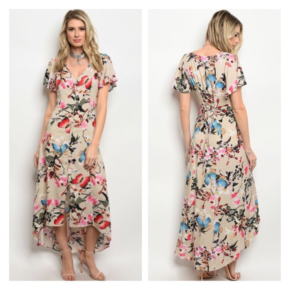 9b3c4e036c0 Boho floral lace up tie back Midi dress